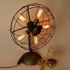 aliexpress com buy loft electric fan shape table lamps american