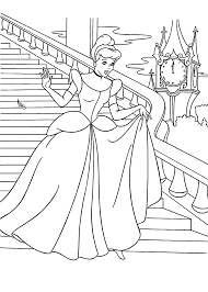 cinderella at the ball coloring pages for kids printable free