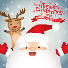 merry santa claus and rudolph stock illustration