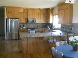 modern l shaped kitchen with island kitchen bar with unstained b hickory b b cabinets b wooden