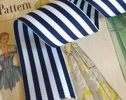 navy blue and white striped ribbon stripe ribbon etsy