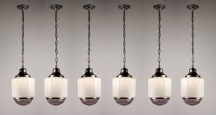 Pendant Lighting With Matching Chandelier Six Matching Antique Art Deco Skyscraper Pendant Lights With