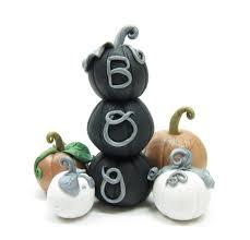 halloween figurine halloween miniature pumpkin stack figurine with black polymer clay