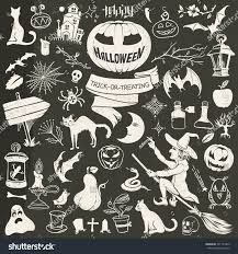 chalkboard halloween cat clear background vintage drawing halloween contour set symbols stock vector