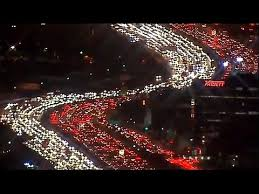 thanksgiving traffic in los angeles aerial footage bumper to