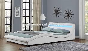 Led Bed Frame Modern Size Upholstered Synthetic Leather Led Bed
