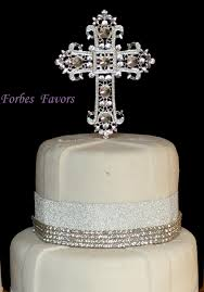 large real rhinestone baptism cake topper christening silver cross