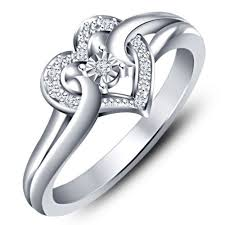 platinum rings women images Buy real solid 925 sterling silver heart shape ring cz platinum fn jpg