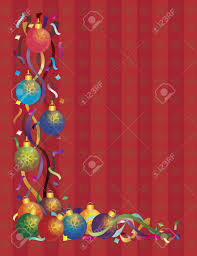 christmas tree ornaments with colorful ribbons and confetti border