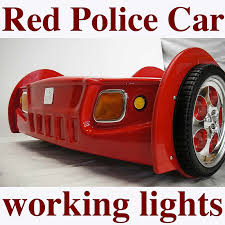 new kids boys childs toddler red police car bed only no mattress