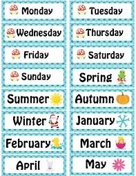 day month year and season calendar cards for pre k kindergarten