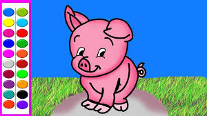 how to draw cute pig l cute pig coloring pages l art for kids