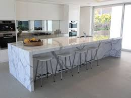 interior artsitic white calacatta marble kitchen island for