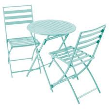 Tesco Bistro Chairs Buy Milan Folding Metal Bistro Set Aqua From Our Garden Chairs