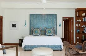 Blue Pendant Lights Elegant Bedroom With White Bed And Small Unqiue Blue Pendant