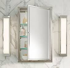 restoration hardware beaded venetian recessed medicine cabinet in