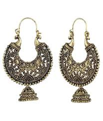 hoops earrings india crazytowear antique cut design golden metal hoop earring buy
