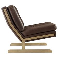 Modern Leather Lounge Chair Trystan Industrial Loft Brown Leather Brass Living Room Chair