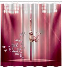 Science Shower Curtain Shower Curtain Rod Amazon Com Shower Curtain Funny Pole Dancing Stripper Sloth
