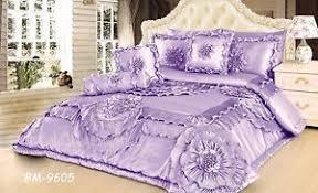 Purple Ruffle Comforter Tache 6 Pc Floral Solid Purple Lavender Fields Ruffle Satin