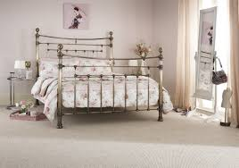 King Size Metal Bed Frames Serene Edmond 5ft King Size Brass Metal Bed Frame By Serene