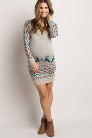 fitted sweater beige reindeer fitted maternity sweater dress