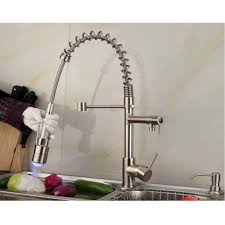 Pull Out Sprayer Kitchen Faucet Contemporary Single Handle Nickel Brushed Pull Out Spray Led