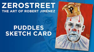 puddles the clown sketch card art in gouache youtube