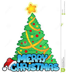 merry christmas signs merry christmas sign with tree stock vector illustration of