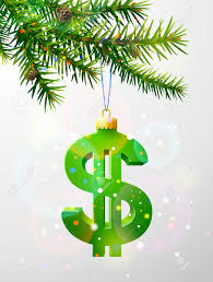 christmas tree branch with decorative dollar symbol dollar sign