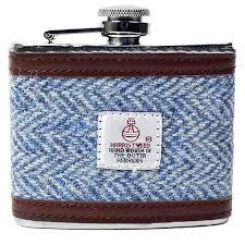 contemporary harris tweed hip flask in light blue herringbone