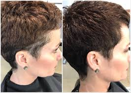 grey blending and a woman u0027s pixie haircut using aveda men u0027s grey