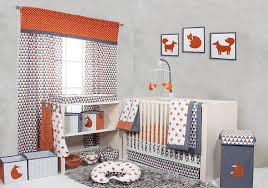 amazon com bacati playful fox orange grey 2 pack crib fitted