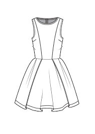fit and flare dress fashion flat drawings pinterest