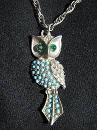 long owl pendant necklace images Retro hippie vintage costume jewelry lot 70s owl pendants w long jpg