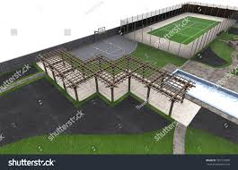 backyard sports ground 3d render stock illustration 597313400