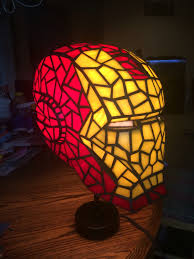 man stained glass desk lamp
