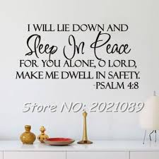 design inspiration words sleep in peace psalm 4 8 bible verse room home decorations quote