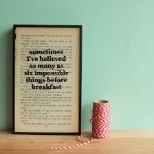 in quote on framed vintage book page six