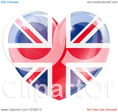 clipart of a 3d reflective union jack british flag heart royalty