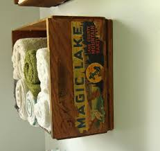 lille punkin u0027 upcycled wooden fruit crates as bathroom towel shelves