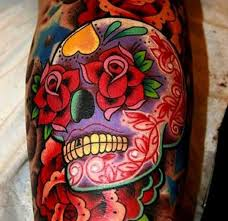 vivid colors sugar skull with red roses tattoo tattoos book