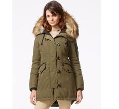 michael michael kors faux fur trimmed hooded parka olive at