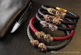 skull bracelet charms images Mens black genuine leather braided northskull bracelet men jpg