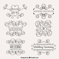 ornamentos de casamento lineares definir