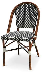 White Bistro Chair Black U0026 White Rattan Bistro Aluminum Chairs