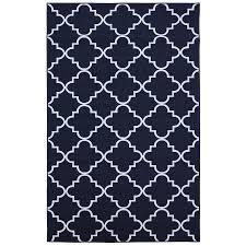shop mohawk home fancy trellis navy blue rectangular indoor tufted