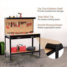 workbench with pegboard and light garage work bench table tool storage shelf pegboard heavy duty steel
