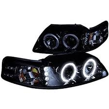 mustang projector headlights amazon com spec d tuning 2lhp mst99g tm ford mustang glossy black