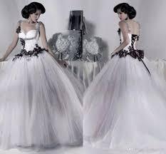 white and black tulle wedding dresses beaded spaghetti straps